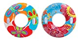 INTEX Groovy Color Inflatable Flower Transparent Tube Raft (Set of 2)   58263EP - Colors may vary