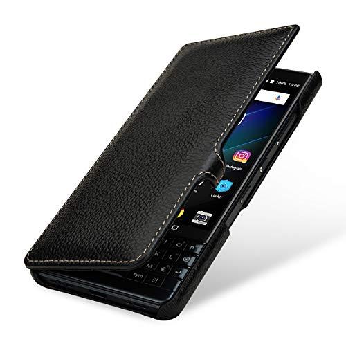 StilGut Lederhülle für BlackBerry Key2 LE Book Type, schwarz mit Clip