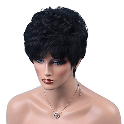 MERIGLARE Femmes Cheveux Humains Noirs Bouclés Pixie Cut Cosplay Party Perruque 8 '' Postiche - #3 8 pouces