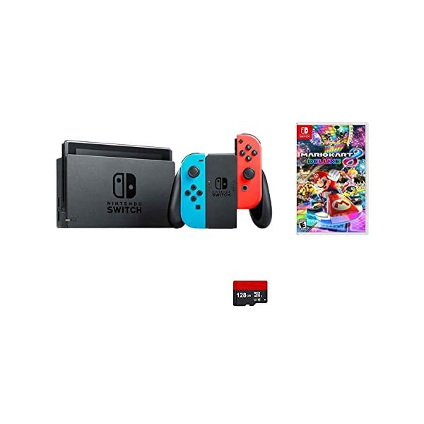 Nintendo Switch 5 items Bundle:Nintendo Switch 32GB Console Neon Red and Blue Joy-con,128 GB Micro SD Card,Mario Kart 8 Deluxe,HDMI Cable and Wall Charger