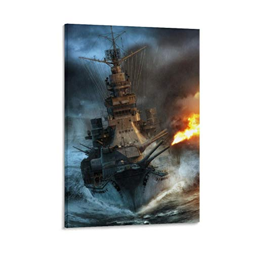 QINGF Póster de la Segunda Guerra Mundial, diseño de buque de guerra retro, impresión artística para pared, diseño moderno de barco de guerra, 50 x 75 cm