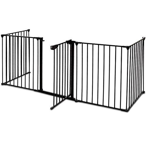 COSTWAY Cancelletto di Sicurezza, Barriera Protettiva per Bambini o Animali, Pieghevole, Porta Disponibile 4 Ante laterali, in metallo