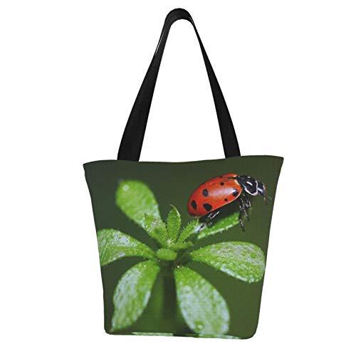Red Ladybug and Green Leaves Bolso de asa, bolsa de la compra reutilizable para mujer, bolso de mano popular