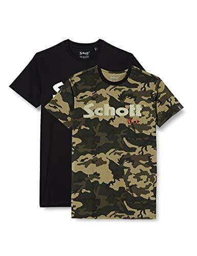 Schott NYC Ts01mclogo T-Shirt, Multicolore (Camokaki/Black Camokaki/Black), X-Large Uomo
