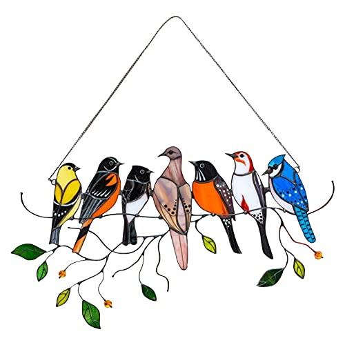 Decorazione di Uccelli in Vetro colorato Acrilico Pannelli per finestre sospese Uccello di Vetro...