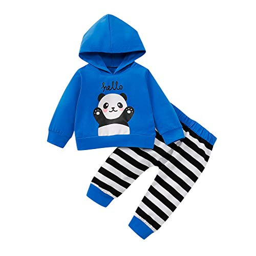 Voberry- Costume bébé,Sweat à Capuche imprimé Panda Alphabet Cartoon à Manches Longues + Pantalon rayé