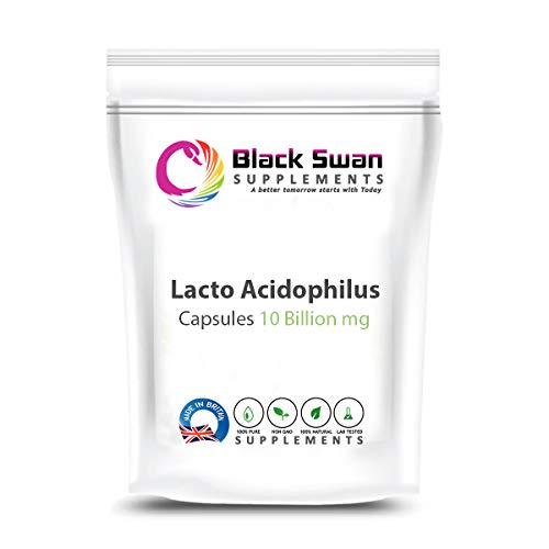 Black Swan Lacto Acidophilus 10 Billion Capsules Supplement – with Anti-inflammatory Properties – Support Healthy Stomach – Cholesterol Level – Weight Loss – Digestive Health (60 Caps)