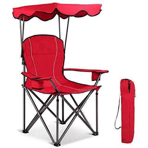 GWFVA Playa Plegable con toldo de Sombra y Bolsa de Transporte, Silla portátil de protección Solar al Aire Libre, sillas de Camping de Pesca Junto al mar en el jardín