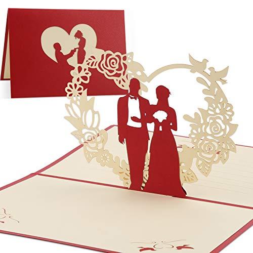 Vegena Hochzeitskarte, Glückwunschkarte Hochzeits Karte 3D Pop Up Karten Geschenkkarte Glückwunsch Hochzeitsgeschenk Geburtstagskarte für Frauen Brautpaar Freundin Valentinstag Liebhabers