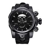 Armbanduhr,Shantou Sport Gezeitenuhr Wasserdichter Silikongürtel Große Uhr, Rein Schwarz