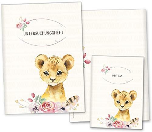 U-boekje hoezen set Wildernis onderzoeksboekje hoes & vaccinatiepashoes mooi cadeau-idee personaliseerbaar met naam en geboortedatum U-Heft Set leeuw