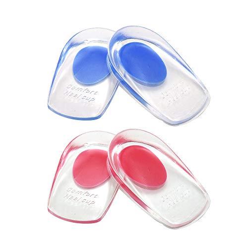 2 pares de almohadillas de gel para talones,almohadillas de silicona para talones para la fascitis plantar,espolones del talón y dolor de Aquiles,copas gel para talones y cojines Absorción (El hombre)