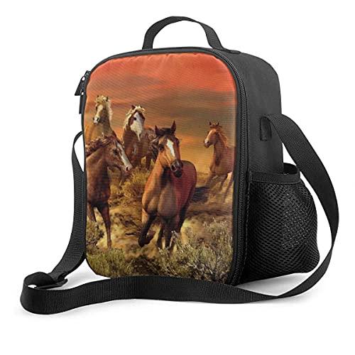 Jupsero Running Horse Painting Upgrade Lunch Tote Box, Running Horse Painting - Bolsa de almuerzo con aislamiento térmico, bolsa de picnic reutilizable para la escuela, con correa ajustable