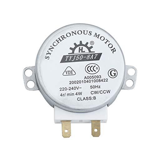 Hemobllo TYJ50-8A7 AC 220V-240V 4 RPM 4W CW/CCW Motor de Horno de Microondas Práctico Rotary Turnable Durable Motor Síncrono Motor de Horno de Microondas para Restaurante de Oficina en Casa