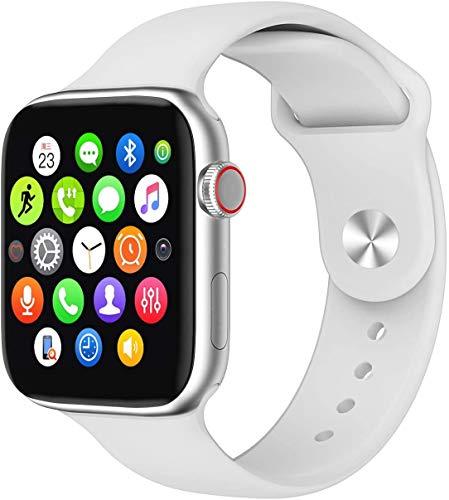 huangyung Reloj Inteligente, Reloj de Fitness IP68 a Prueba de Agua, con Monitor de frecuencia cardíaca, podómetro, monitorización del sueño, Reloj de Llamada Bluetooth para iOS Android Blanco