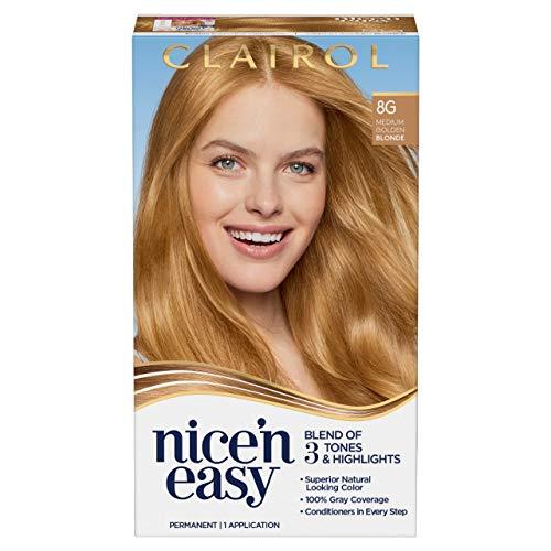 Clairol Nice'n Easy Permanent Hair Dye, 8G Medium Golden Blonde Hair Color, 1 Count