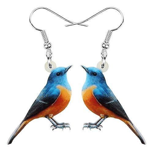 Pendientes de acrílico con Borde Rojo Bush Robin con Estampado de pájaro Grande, Colgante de Animal para Mujeres, niñas, Accesorios de Regalo, Azul