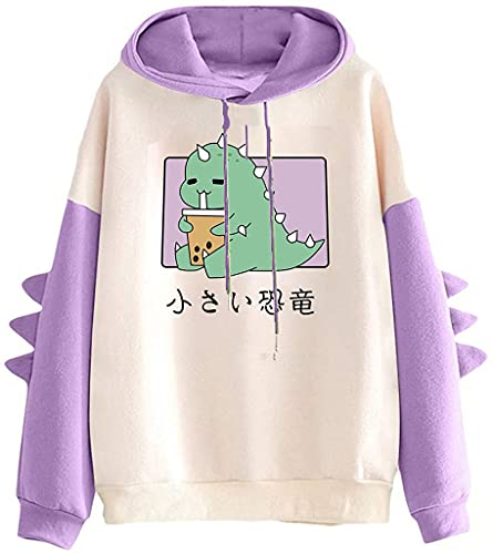 Sudadera con capucha de dinosaurio,Suéter casual de moda para mujer,Suéter de manga larga de dibujos animados,Linda camiseta de dinosaurio para mujer