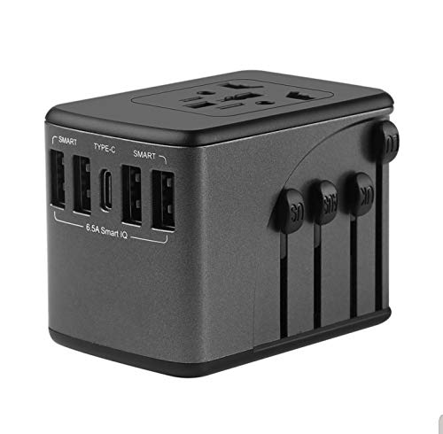 Universal Travel Adapter, Worldwide 1 Type C and 4 USB International Black Travel Outlet, Best Power Plug Europe to USA, UK, China, Fiji, NZ, HK, Asia, Japan