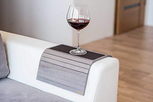 Bandeja de madera para sofá con reposabrazos, para sofá, mesa, posavasos, sofá, soporte para teléfono con tela 4.grey