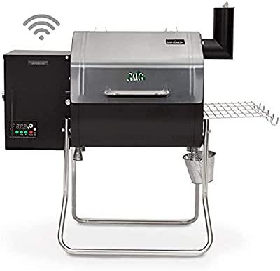 Green Mountain Davy Crockett Sense Mate Electric Wi-Fi Control Foldable Portable Wood Pellet Tailgating Grill with Meat Probe, Black