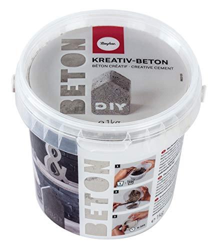 Rayher 34152000 Kreativ-Beton, Eimer 1 kg, hellgrau, Bastelbeton, Beton zum Basteln, Beton zum Gießen, Betonpulver zum Gießen, staubarm, gebrauchsfertig, mit Wasser anrühren