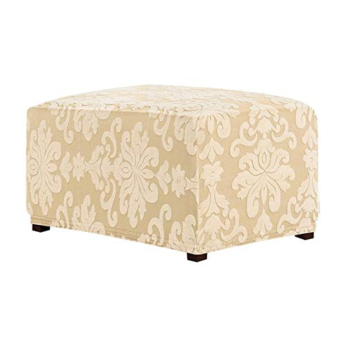 BEDSETS Stretch Ottoman Cover Ottoman Slipcovers Rectangle Foot Stool Stretch Covers Ottoman Foot Rest Cover Pouffe Cover Spandex Jacquard Fabric Washable (Cream color)