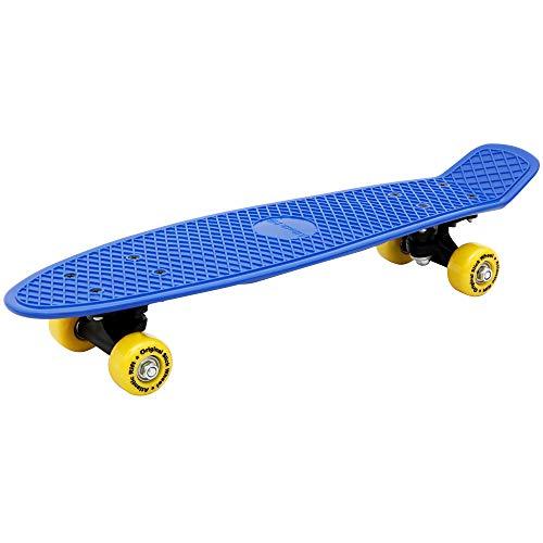 Deuba Retro Skateboard Blau | ABEC7 Rollen | bis 100kg | 57x15cm | Mini Skate Board Pennyboard