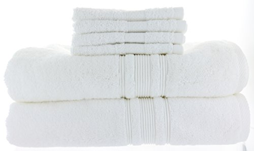 2 Charisma Bath Towels 30in x 58in + Bonus 4 Grandeur Wash Cloths, White, 100% Hygro Cotton Loops & Extra Absorbent