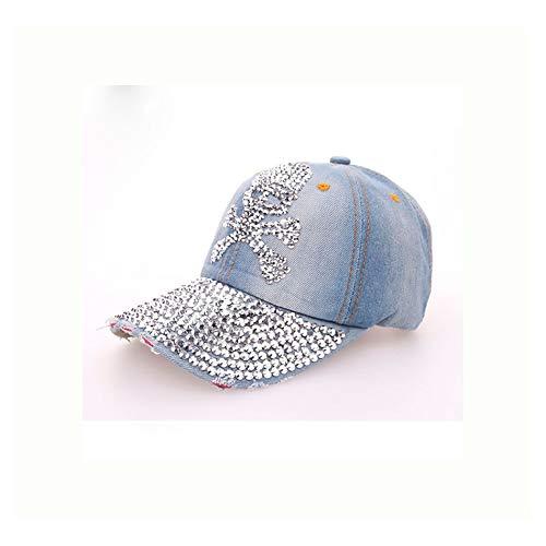 Vintage-Totenkopf, Bohrmaschine, alte Cowboy-Baseballmütze Damenpersönlichkeit, Hut (Color : Blue, Size : 56-62cm)