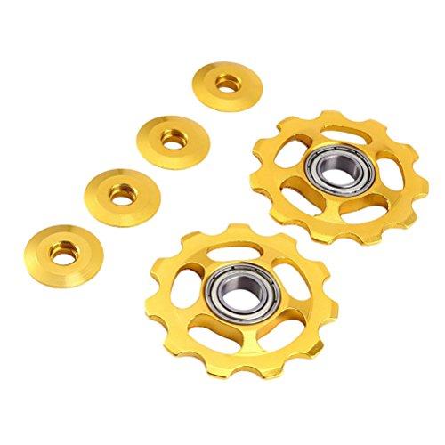 VORCOOL 2 Stücke Schaltröllchen Fahrrad Schaltwerk Riemenscheibe 11T Aluminium für Shimano, Gold, 1,77x1,77x0,2 Zoll