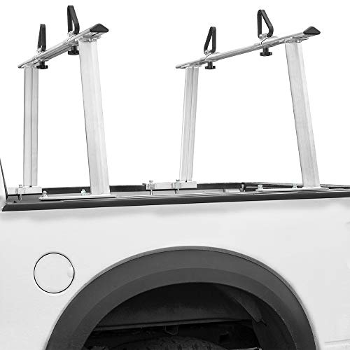 Stark Universal Truck Rack Extendable Aluminum Pick Up Truck Ladder Rack Contractor Pipe Rack (No-Drilling Required) 1,000lbs Capacity