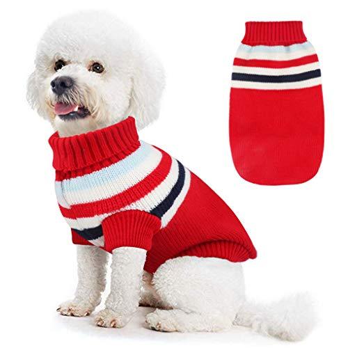 Felpa Cane,Idefair Cappotto Cane Inverno Caldo Maglieria Vestiti per Cani e Gatto di Taglia Medio Piccola (L, Rosso)