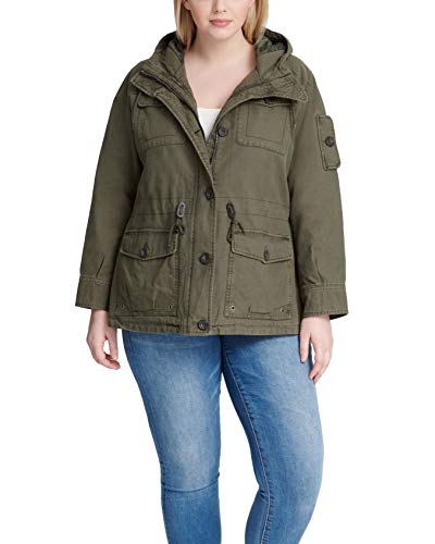Levi's Women's Cotton Four Pocket Hooded Field Jacket, Army Green, M
