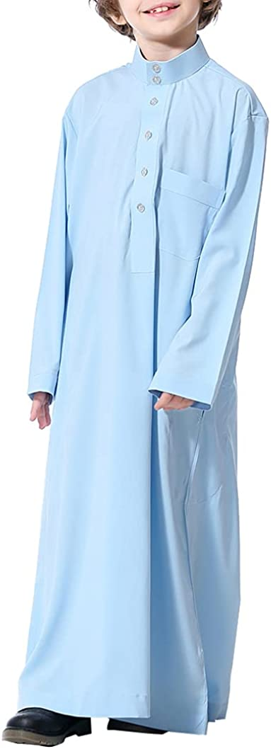 YiZYiF Kids Boy's Arabic Thobe Long Sleeve Muslim Thobe Kaftan Crew Collar Robe with Zipper Pockets