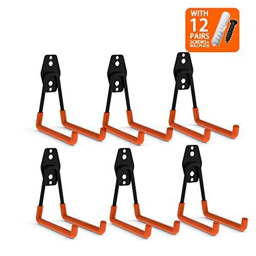 CoolYeah Steel Garage Storage Utility Double Hooks, Heavy Duty for Organizing Power Tools,Large U Hooks (pack of 6, 5 × 5 × 4.1 inches)