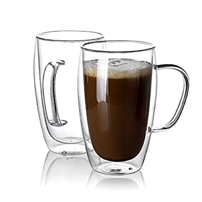 Sweese 416.101 Glass Coffee Mugs Set of 2 - Double Wall Tall Insulated Tea Cup with Handle Glassware, Perfect for Cappuccino, Latte, Macchiato, Tea, Juice, Iced Beverages, 15 oz