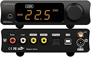 Topping DX3 Pro+ ES9038Q2M Bluetooth 5.0 LDAC ljuddekoder DSD512 DAC AMP NFCA hörlursförstärkare före förstärkare (svart)