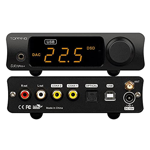 Topping DX3 Pro+ ES9038Q2M Bluetooth 5.0 LDAC Audio Decoder DSD512 DAC AMP NFCA Amplificatore per cuffie Pre Amplificatore (nero)