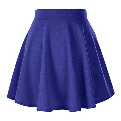 Urban CoCo Women's Basic Versatile Stretchy Flared Casual Mini Skater Skirt (Large, Royal Blue)