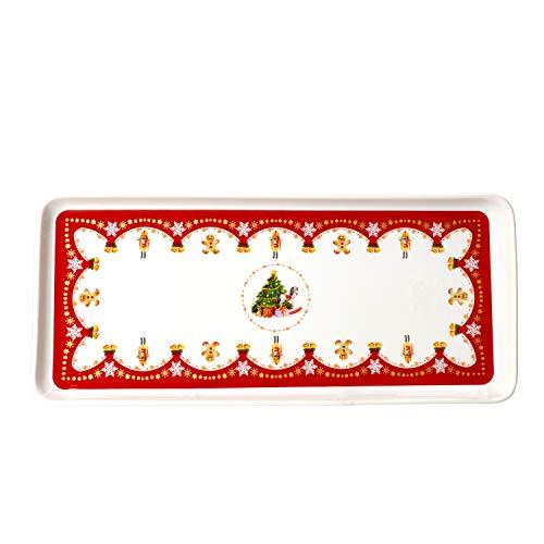 Van Well Kuchenplatte rechteckig Weihnachtszauber weiß Porzellan I mit Weihnachtsdekor I Servierplatte I Weihnachten, Nikolaus, Advent I Topfkuchen, Kekse, Stollen I Christmas I X-Mas