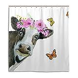 CPYang Duschvorhänge niedliches Tier Kuh Schmetterling Wasserdicht Schimmelresistent Bad Vorhang Badezimmer Home Decor 168 x 182 cm mit 12 Haken