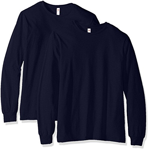 Fruit of the Loom Men's Long Sleeve T-Shirt (2 Pack), Jnavy, X-Large
