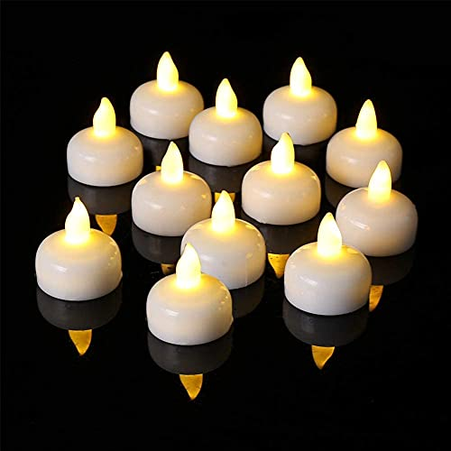 12 Pack Waterproof Flameless Floating Tealights,Flameless Floating Candles,Warm White Led Flickering Tealight Candles, Decor for Wedding, Party, Pool, Christmas