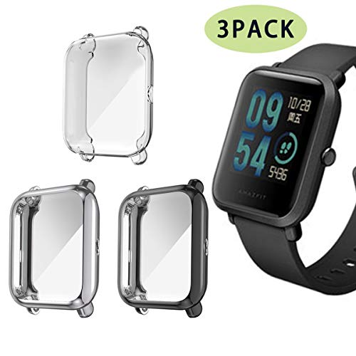 Compatible Amazfit Bip Case,TPU Screen Protector Rugged Cover All-Around Protective Bumper Shell Compatible (Black+Gray+Clear)