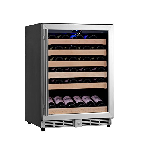 KingsBottle 46 Bottle Single Zone Wine Cooler, Stainless Steel with Glass Door