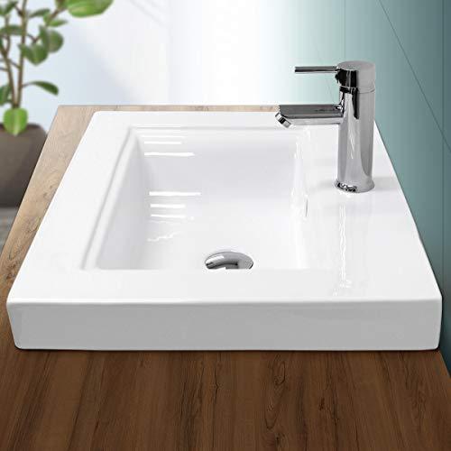 ECD Germany Waschbecken Waschtisch 605 x 465 x 160 mm Keramik Weiß Einbaubecken Einbauwaschbecken Handwaschbecken Einbauwaschtisch Aufsatzwaschbecken Spülbecken Wasserfall Waschschale Waschschlüssel