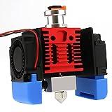 Haldis 3D Red Lizard Q1 V6 Hotend Set, Upgrade All Metal Hot End Bi-Metal Heat Break, Plated Copper Heat Block+Nozzle+3 Pcs Cooling Fans for Ender 3 Pro V2 Ender 5 Pro 3D Printer (24V)