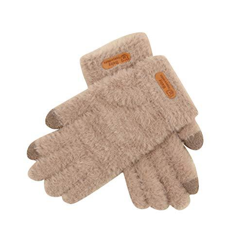 PengGengA Damen Handschuh Frauen Kaschmir Touchscreen Sport Rutschfest Wind Und Kälte Plus Samtverdickung Kaki