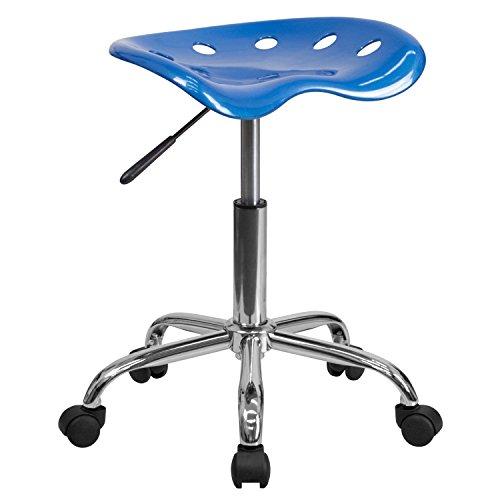 Flash Furniture Sgabello con Seduta in Stile Mezzadro, Colore Blu Acceso e Cromo